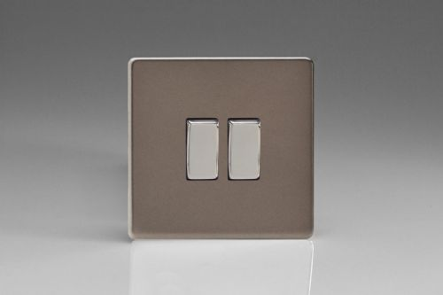 Varilight XER2S Euro Pewter 2 Gang 10A 1 or 2 Way Rocker Light Switch